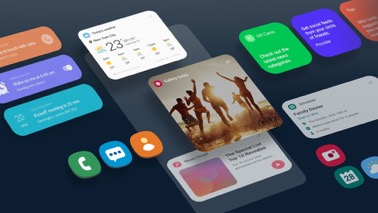 """多张图像展示了 One UI 屏幕可如何更改 Galaxy 界面,更加方便用户集中注意力。One UI 主屏幕使用色彩丰富的图标。模拟 One UI 应用程序采用了醒目的色块,方便用户找到并专注于相关的信息,例如天气信息、音乐单曲、图库以及日程安排等。""""提醒""""应用使用蓝绿色圆角方形突出显示。""""闹钟""""应用使用紫色圆角方形突出显示。探索类应用使用蓝色、绿色和红色圆角方形突出显示。"""